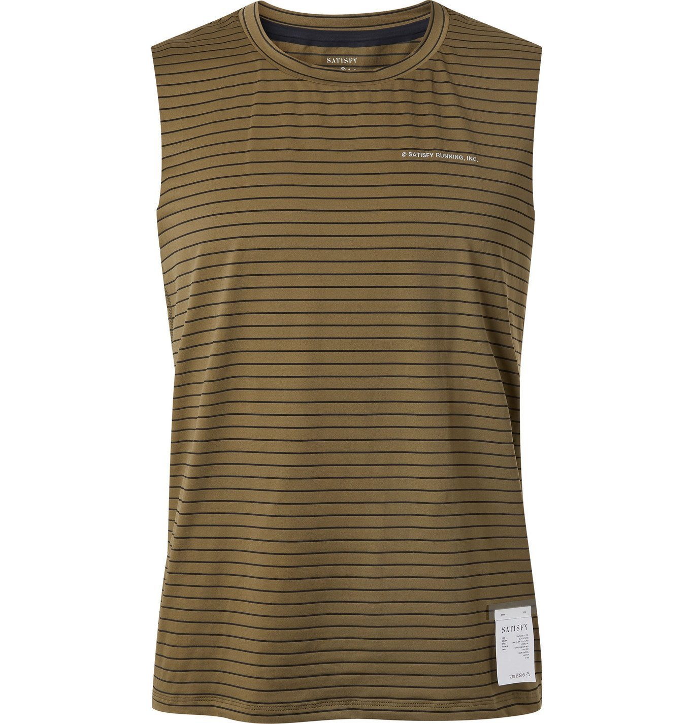 Photo: Satisfy - Logo-Print Striped Stretch-Jersey Running Tank Top - Green
