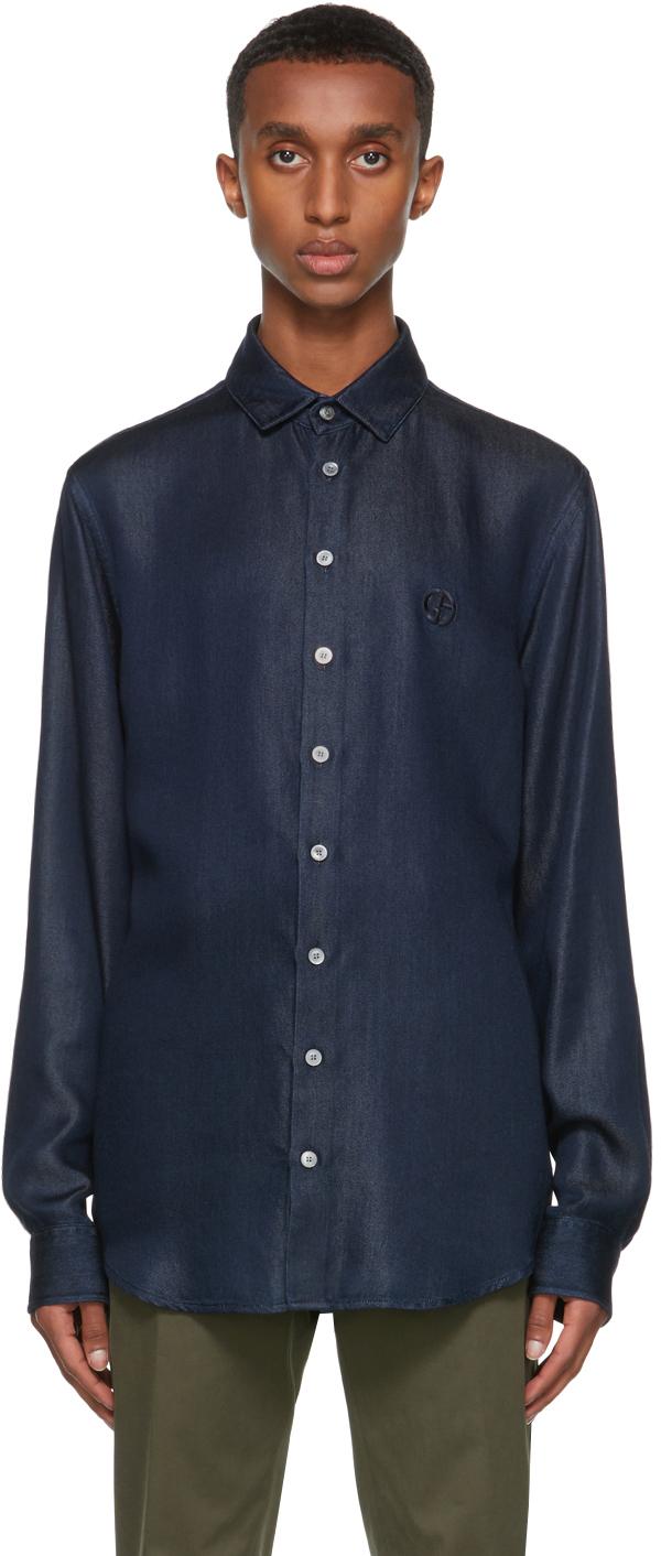 Giorgio Armani Blue Lyocell Denim-Look Shirt