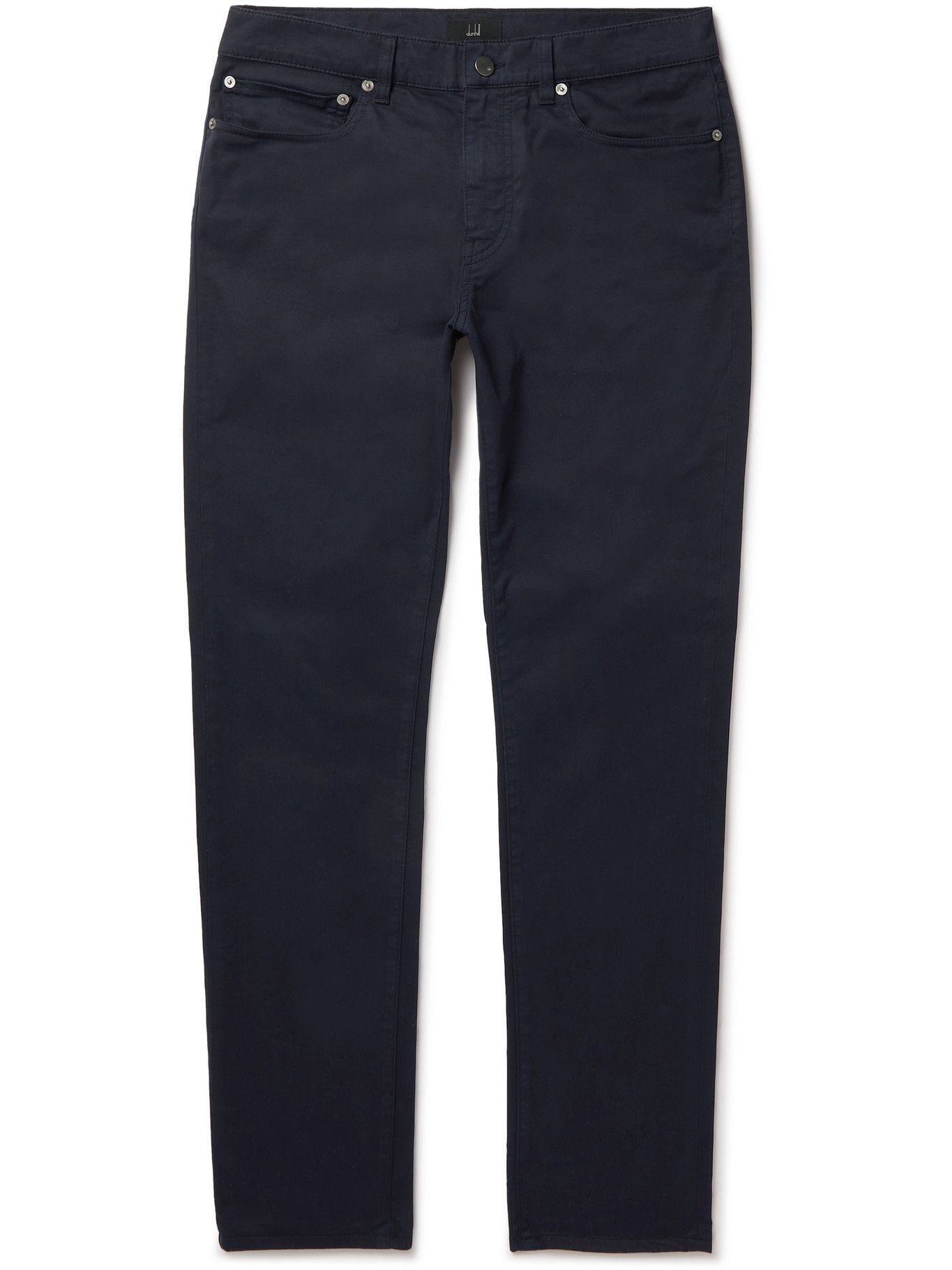 DUNHILL - Tapered Cotton-Blend Twill Trousers - Blue