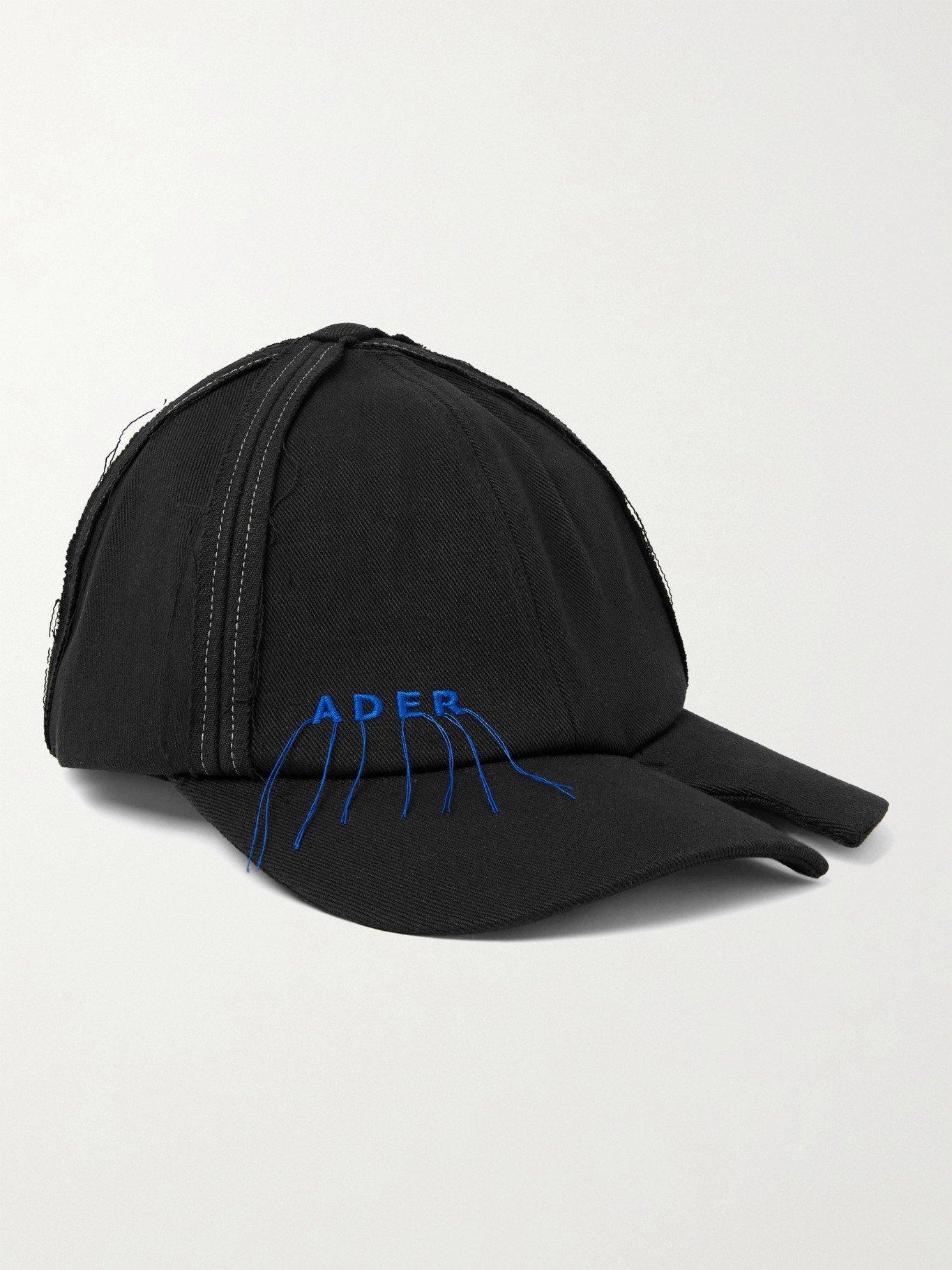 Photo: Ader Error - Distressed Logo-Embroidered Cotton-Blend Twill Baseball Cap - Black