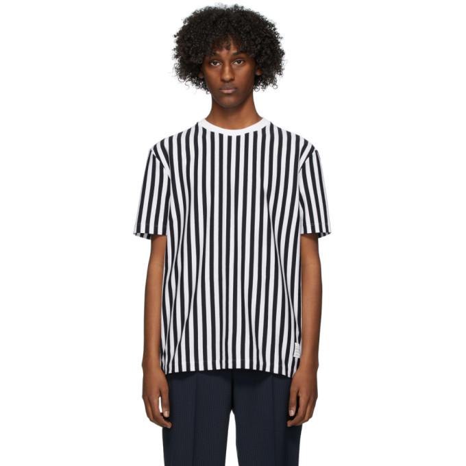 Photo: Thom Browne Navy and White RWB Bold Stripe T-Shirt