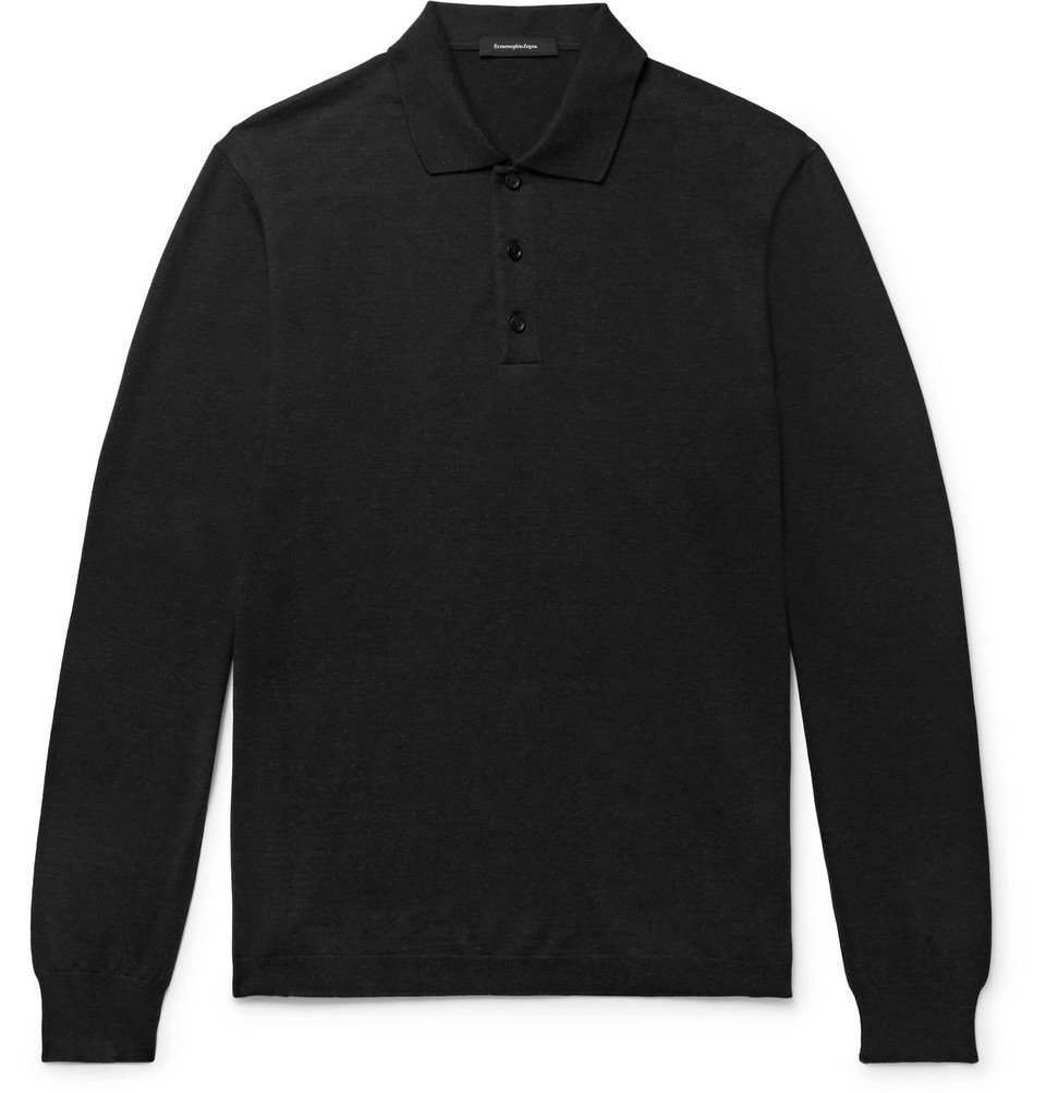 Photo: Ermenegildo Zegna - Knitted Cotton and Cashmere-Blend Polo Shirt - Dark gray
