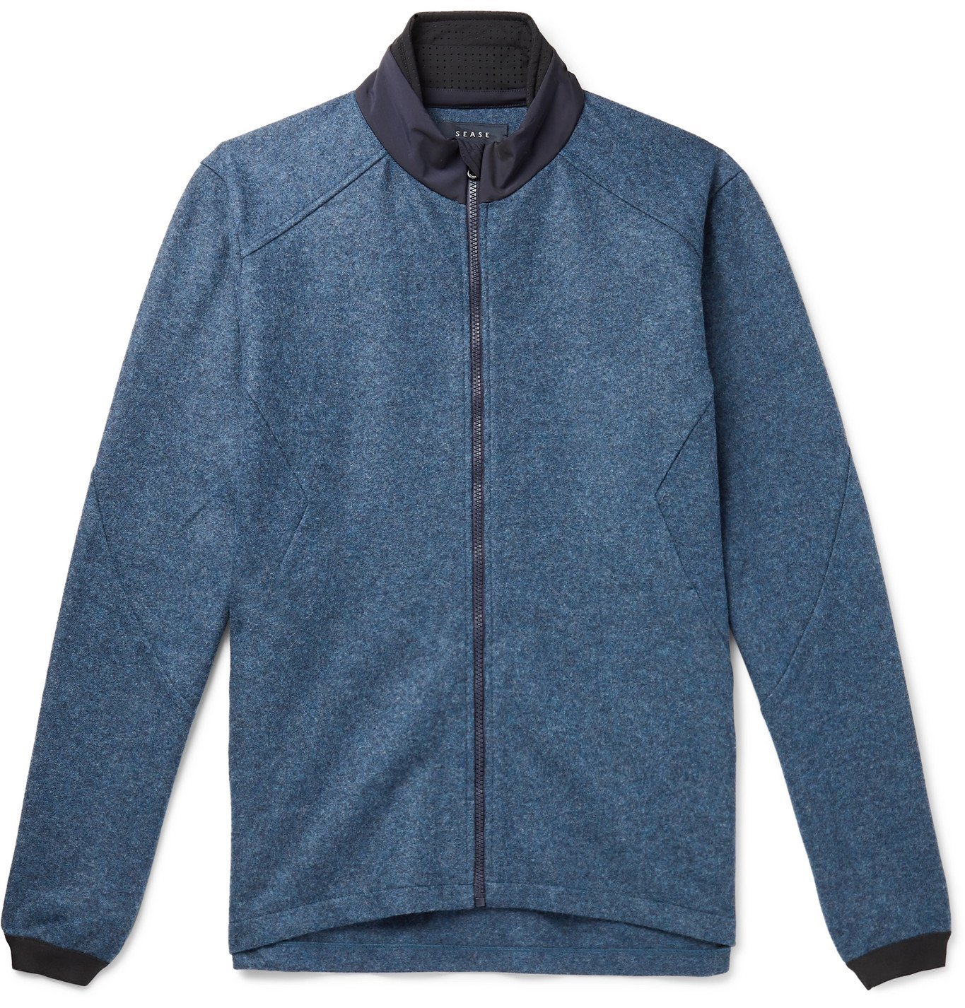 Photo: Sease - Maestrale Shell-Trimmed Mélange Wool-Felt Jacket - Blue