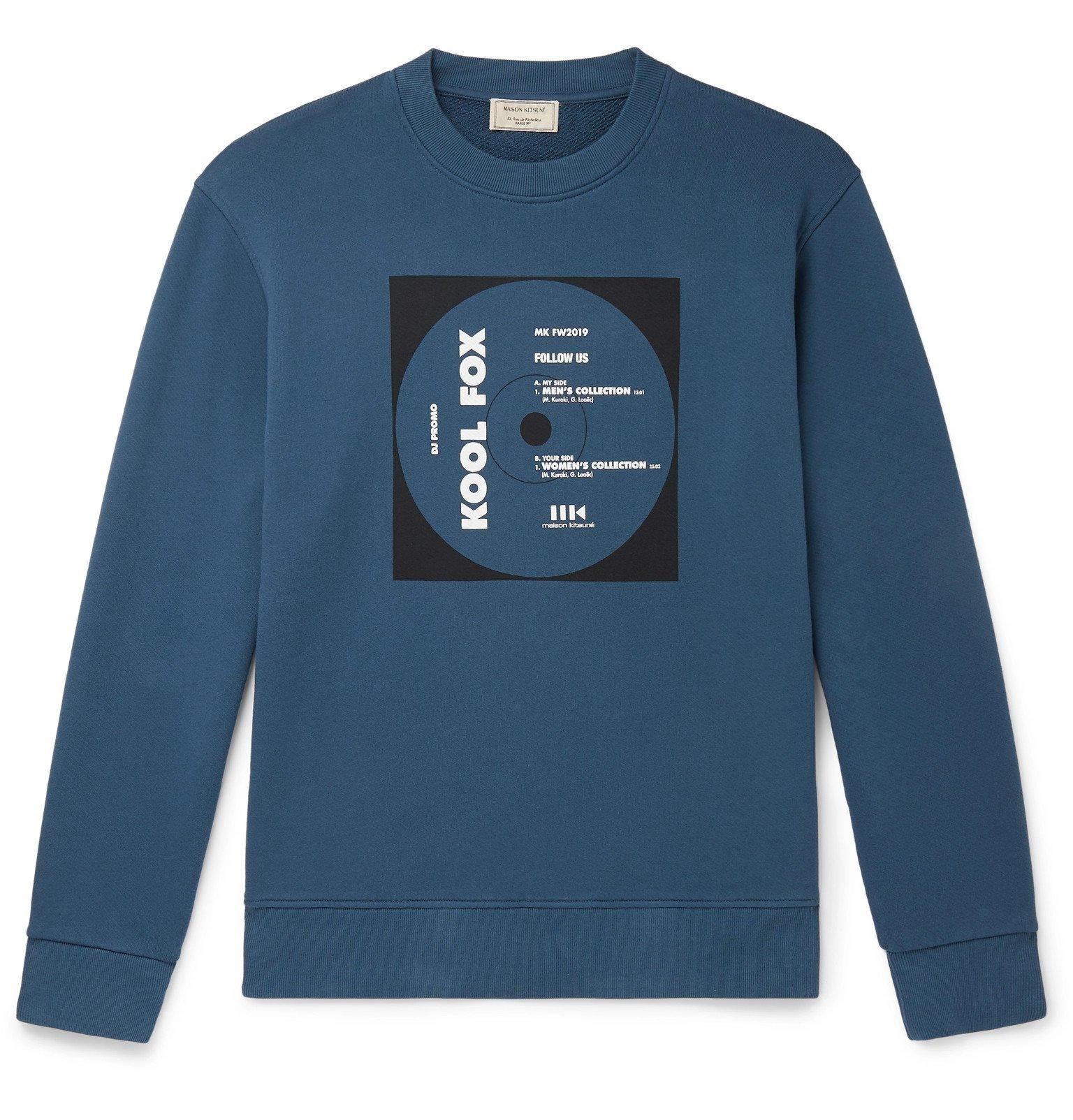 Photo: Maison Kitsuné - Printed Loopback Cotton-Jersey Sweatshirt - Blue
