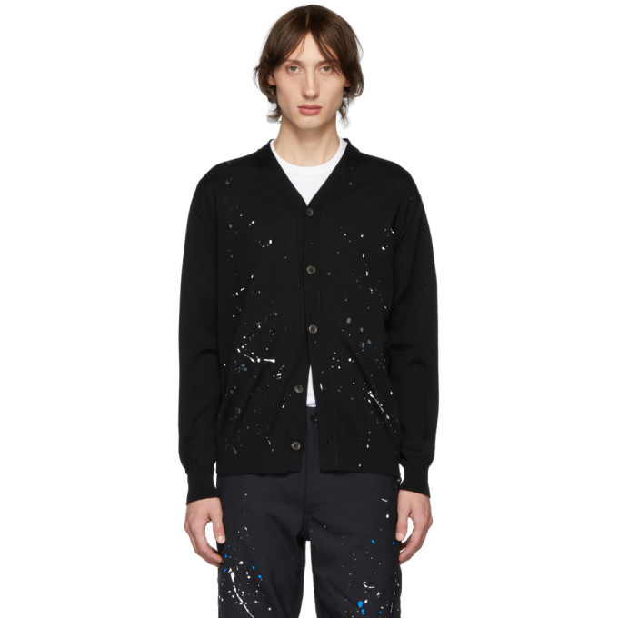 Photo: Comme des Garcons Homme Black Paint Splatter Cardigan