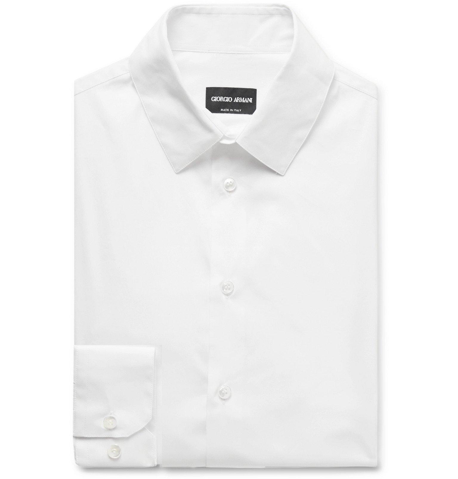 Giorgio Armani - Navy Slim-Fit Stretch Cotton-Blend Shirt - White