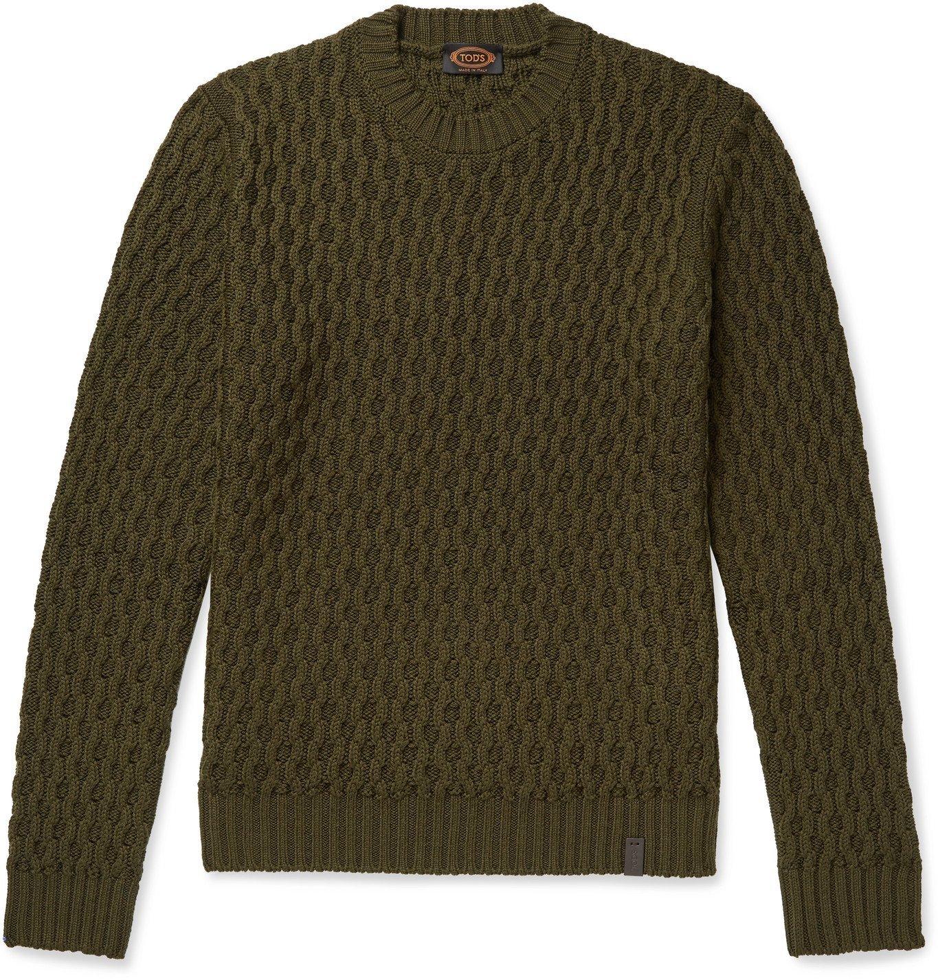 Photo: Tod's - Textured-Merino Wool Sweater - Green
