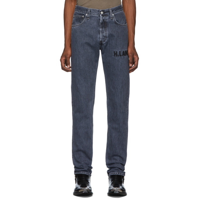 Photo: Helmut Lang Grey Embroidered Masc Hi Straight Jeans