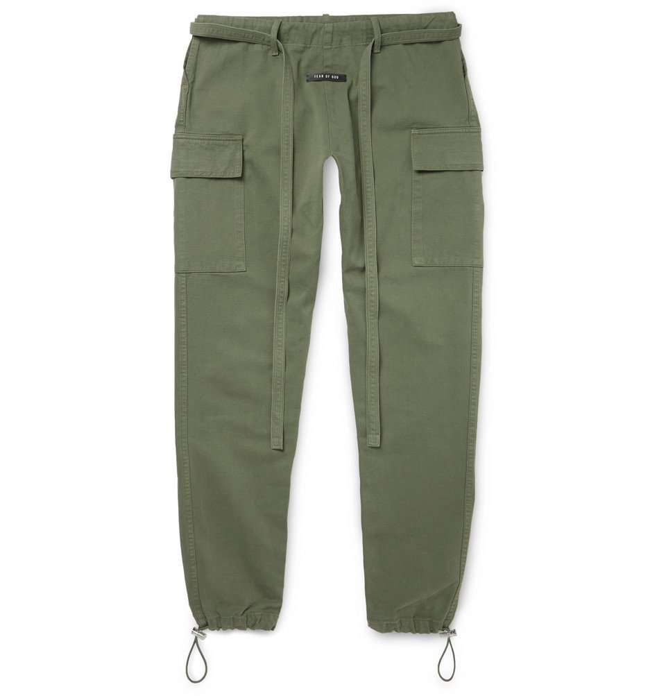 Photo: Fear of God - Belted Cotton Cargo Trousers - Green