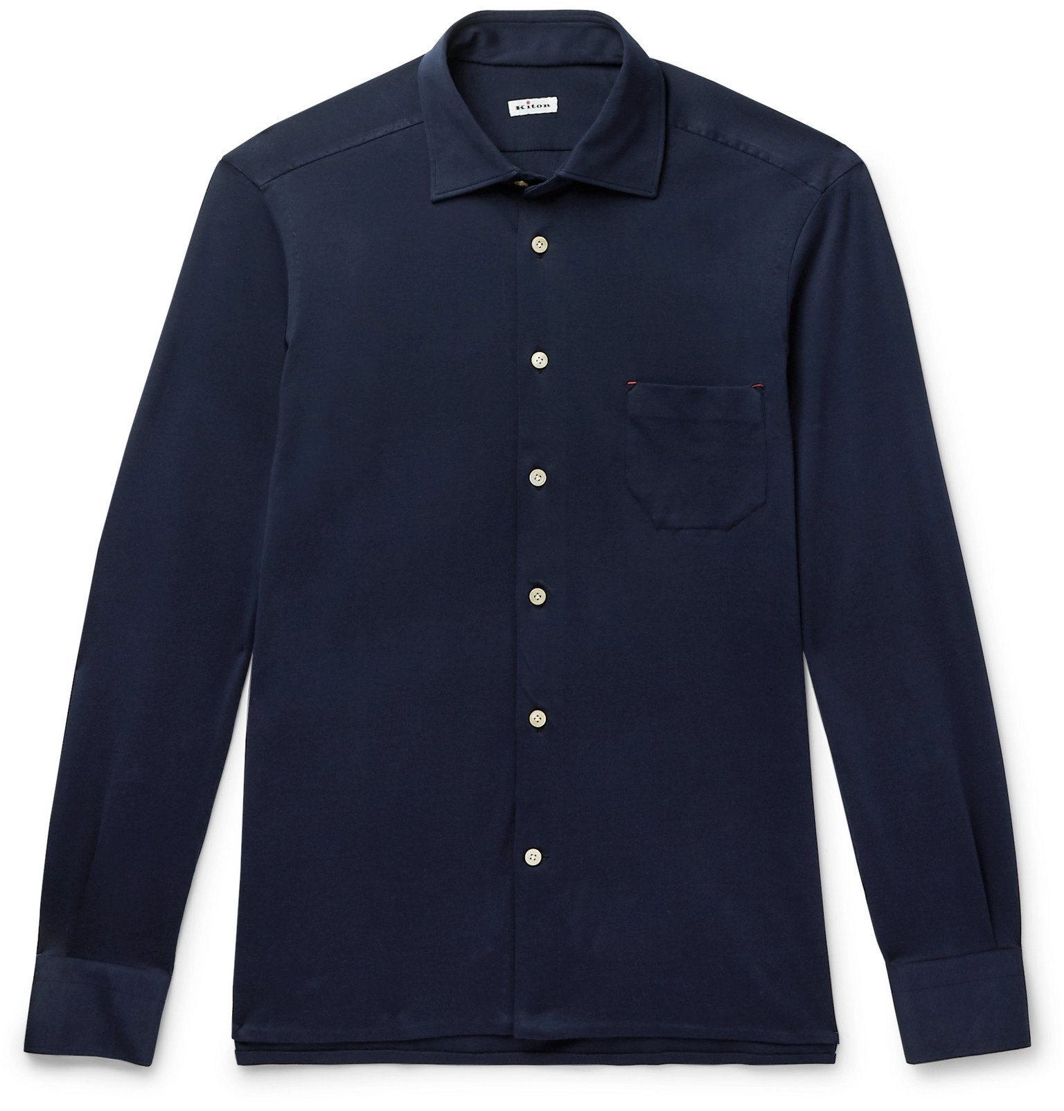 Photo: Kiton - Slim-Fit Cotton-Jersey Shirt - Blue