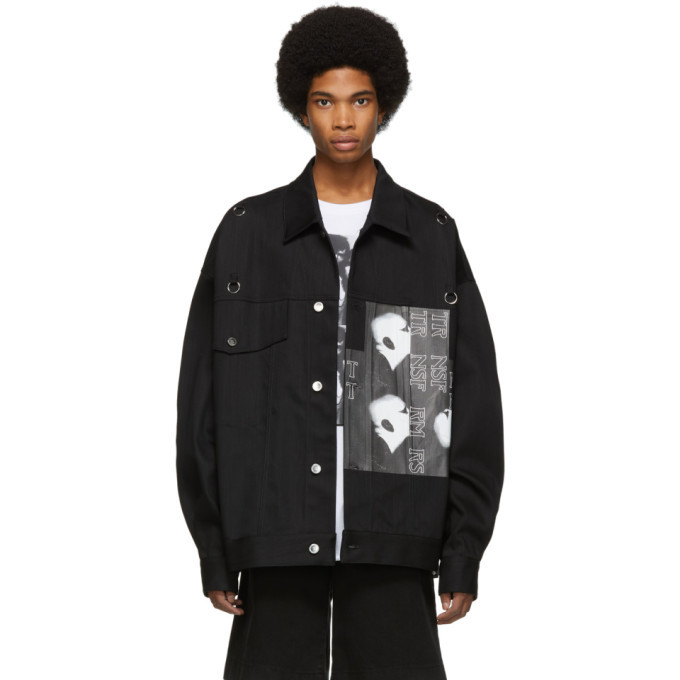 Photo: Raf Simons Black Denim Oversized Head Jacket