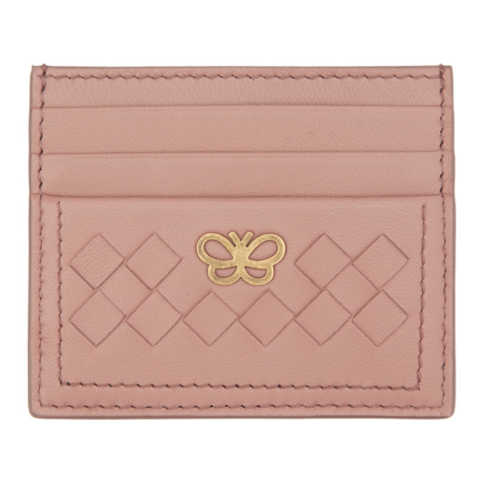 Photo: Bottega Veneta Pink Intrecciato Butterfly Card Holder