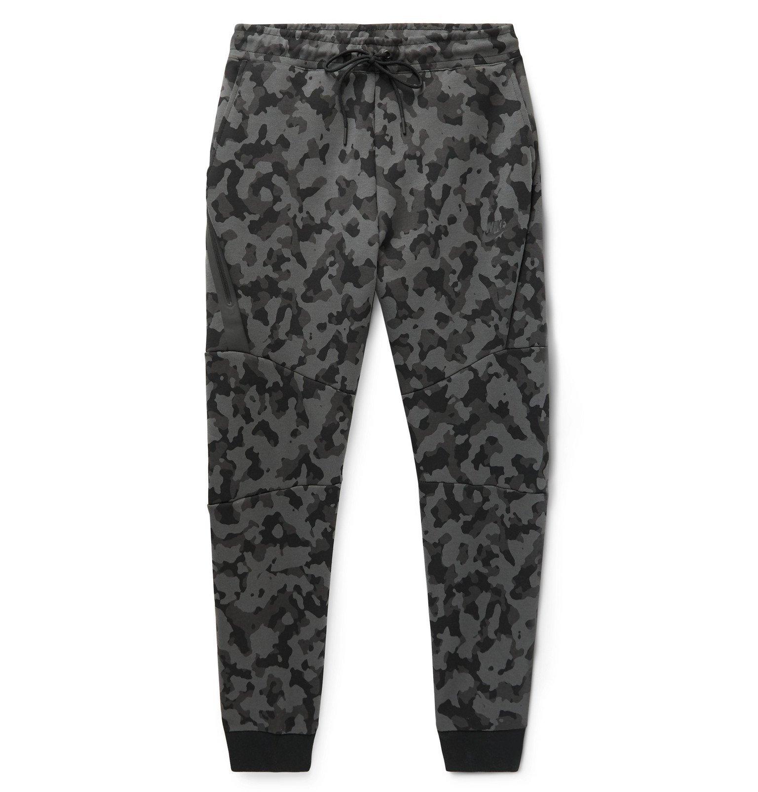 Photo: Nike - Sportswear Slim-Fit Tapered Camouflage-Print Cotton-Blend Tech Fleece Sweatpants - Gray