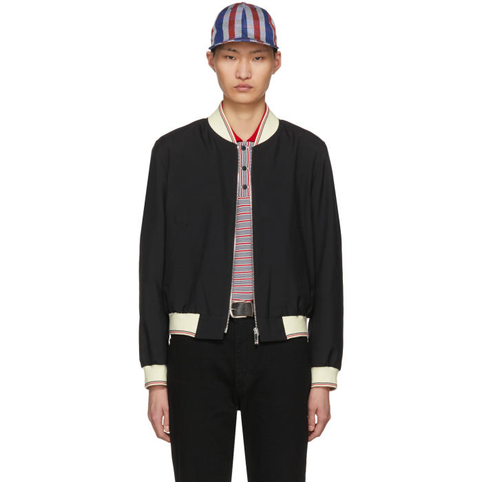 Photo: Thom Browne Black Ribbed Zip-Up Bomber Jacket