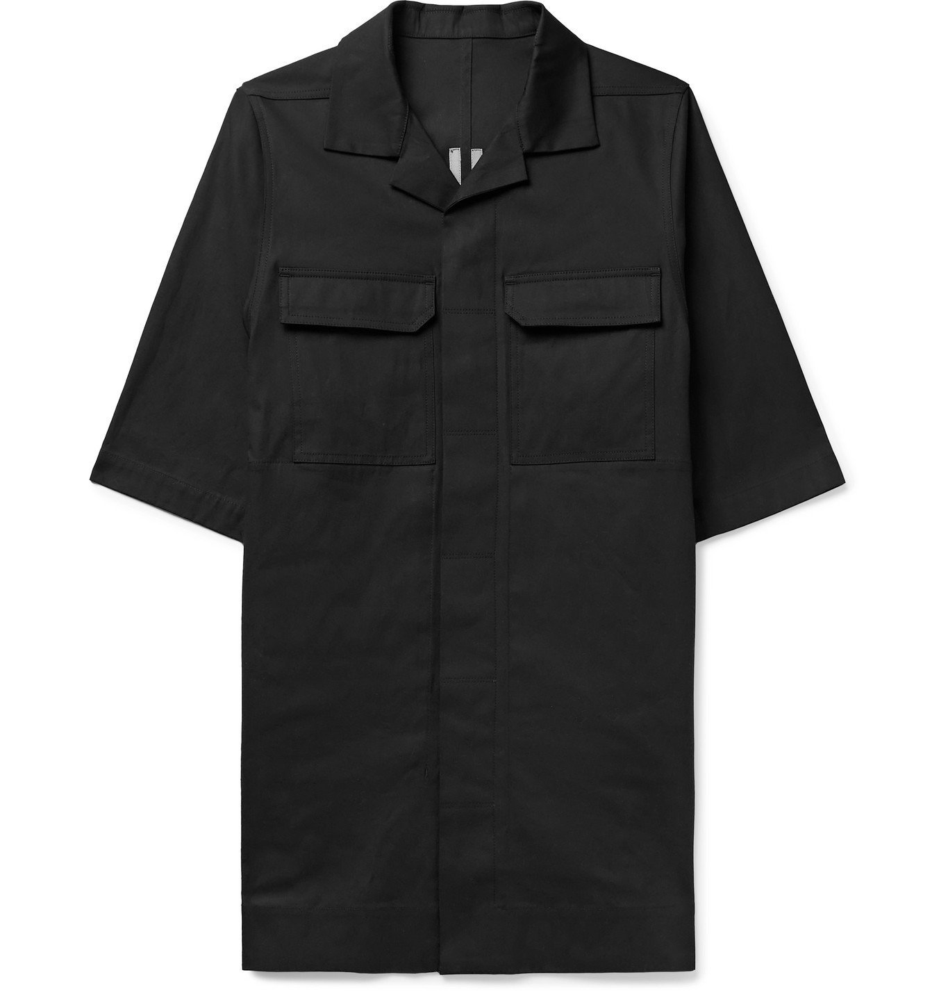 Photo: RICK OWENS - Magnum Camp-Collar Cotton-Blend Shirt - Black