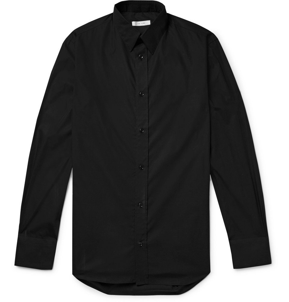 Photo: The Row - Ahmet Slim-Fit Sea Island Cotton-Poplin Shirt - Black