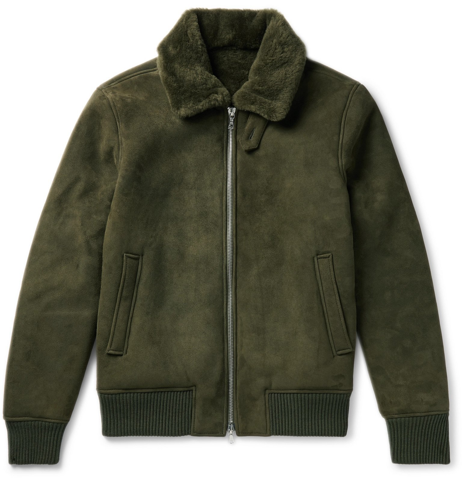 Photo: Officine Generale - Saul Shearling Bomber Jacket - Green