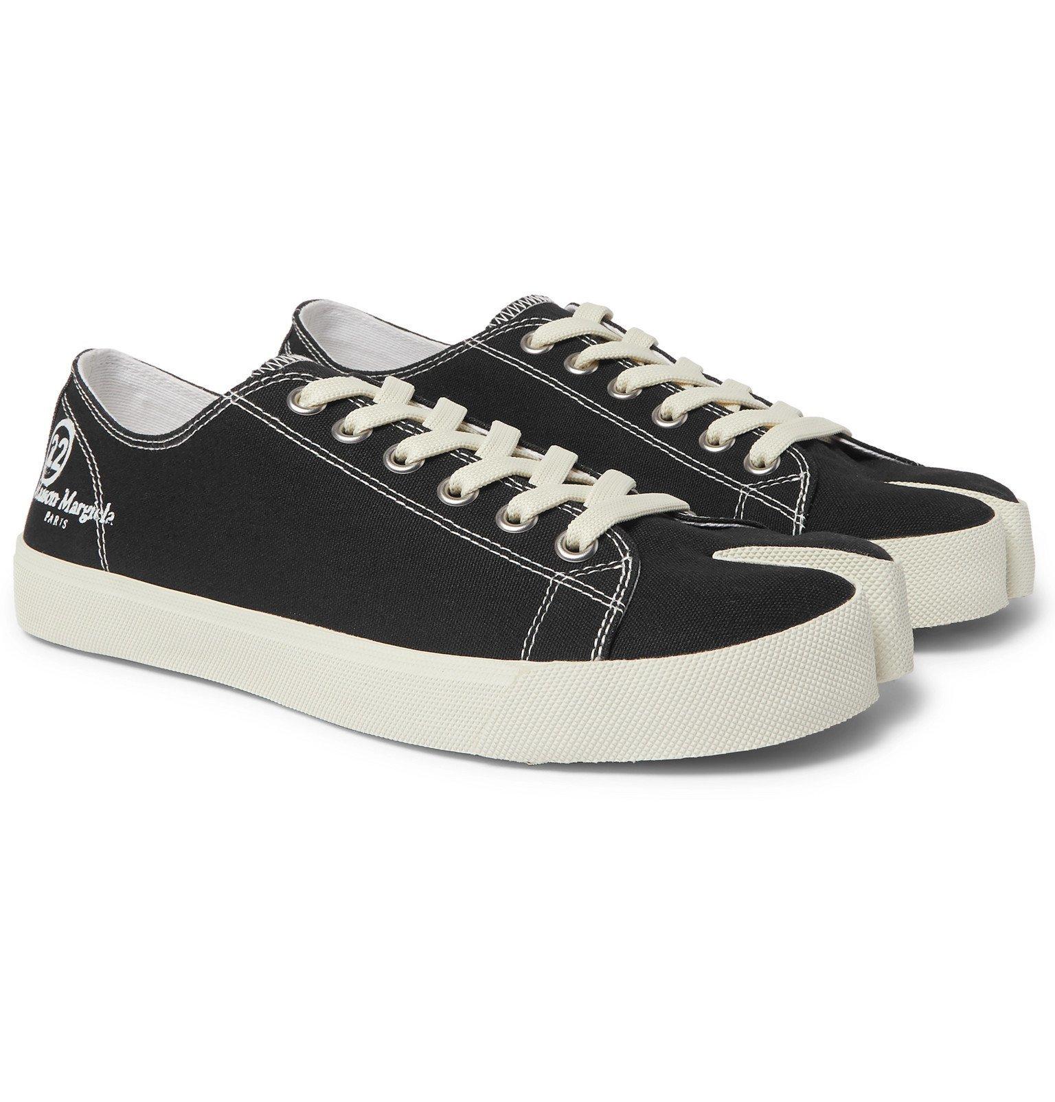 Photo: Maison Margiela - Tabi Split-Toe Cotton-Canvas Sneakers - Black