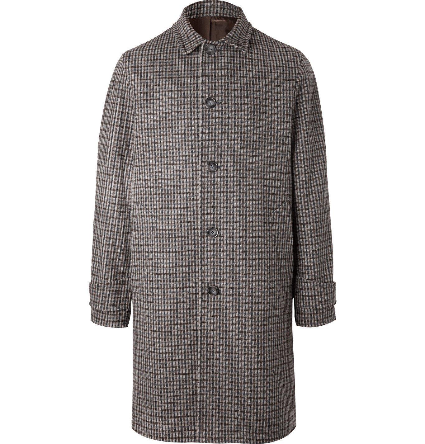 Photo: Officine Générale - Stephane Checked Wool-Blend Coat - Brown