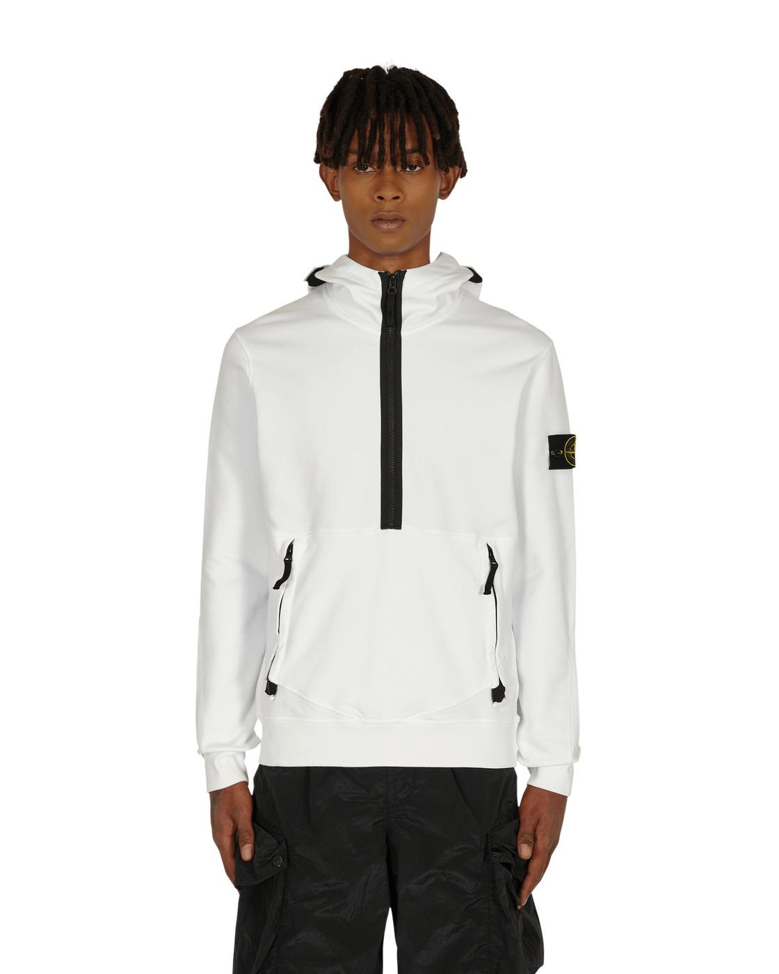 Photo: Stone Island Classic Half Zip Hooded Sweatshirt White
