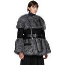Sacai Grey and Black Faux-Fur Jacket
