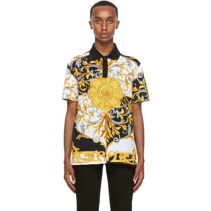 Photo: Versace Gold and White Barocco Taylor-Fit Polo