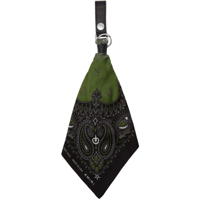 Photo: Amiri Black and Green Bandana Keychain