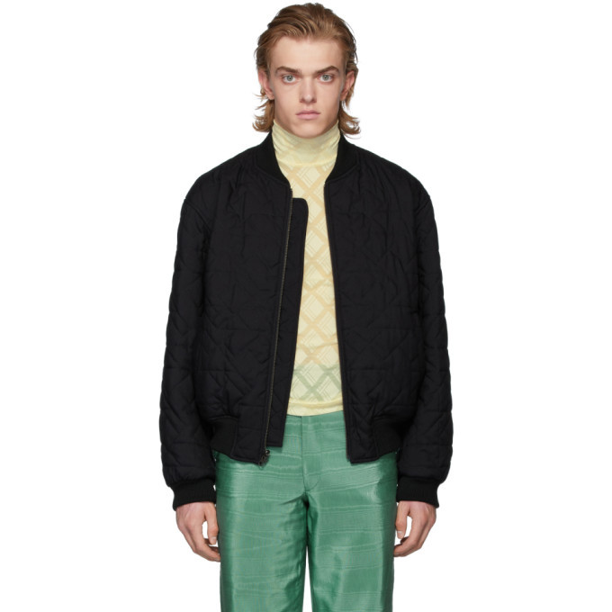 Photo: Ann Demeulemeester Reversible Black Wool Quilted Bomber Jacket