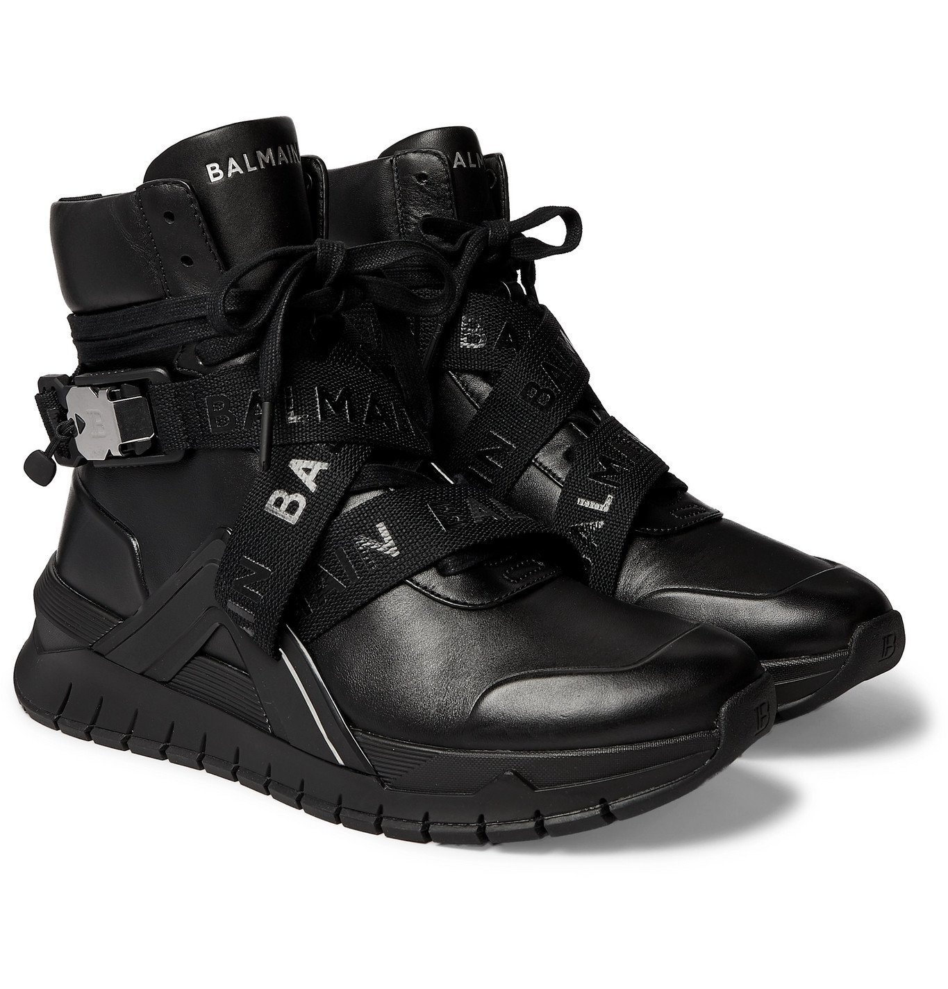 Photo: Balmain - B-Troop Webbing-Trimmed Leather Sneakers - Black