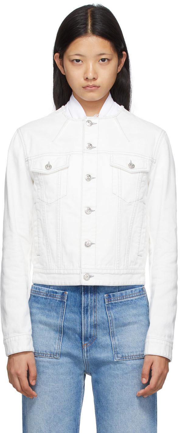 Photo: MM6 Maison Margiela Off-White Denim Collarless Jacket