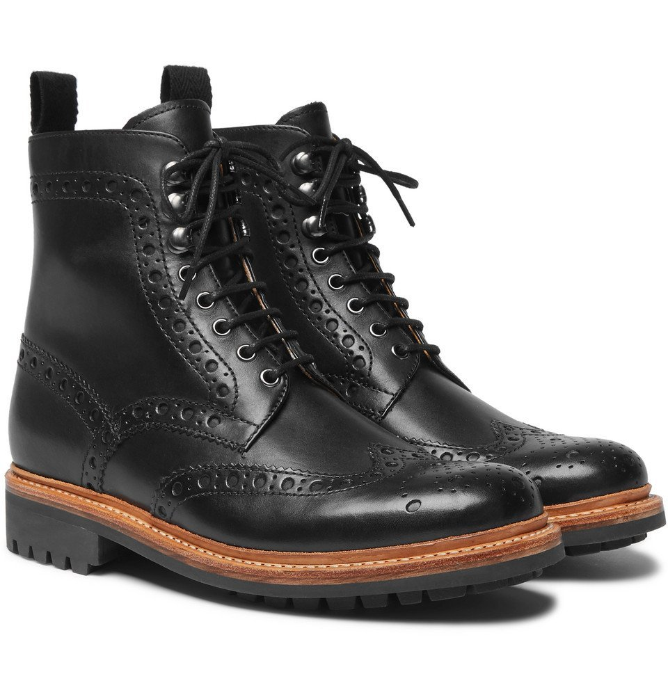 Photo: Grenson - Fred Leather Brogue Boots - Men - Black