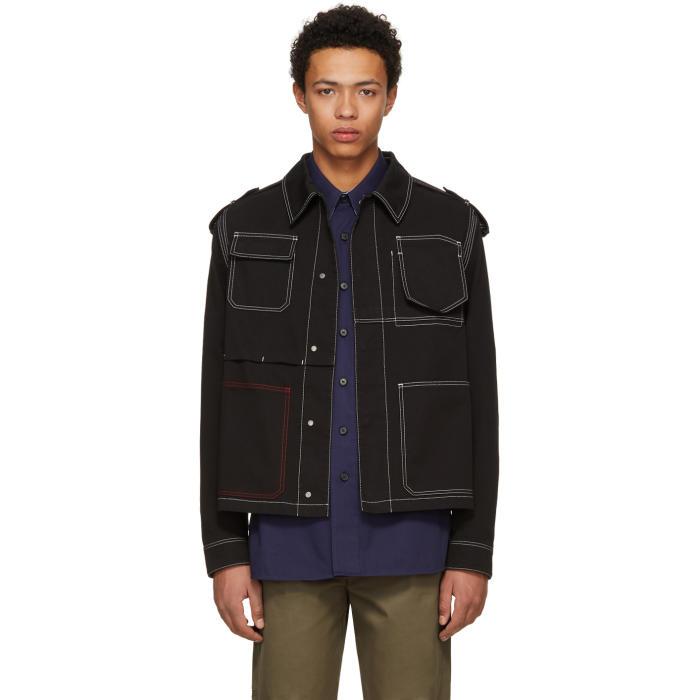 Photo: Valentino Black Contrast Stitching Denim Jacket