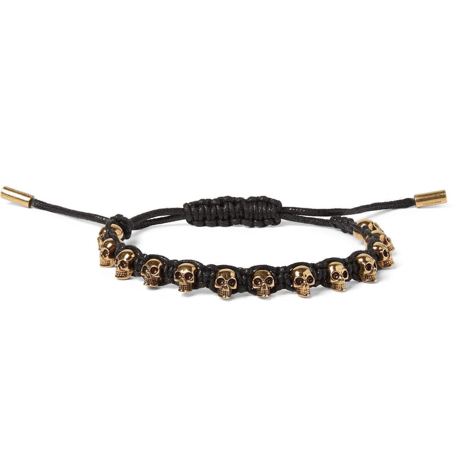 Photo: Alexander McQueen - Skull Gold-Tone and Rope Bracelet - Black