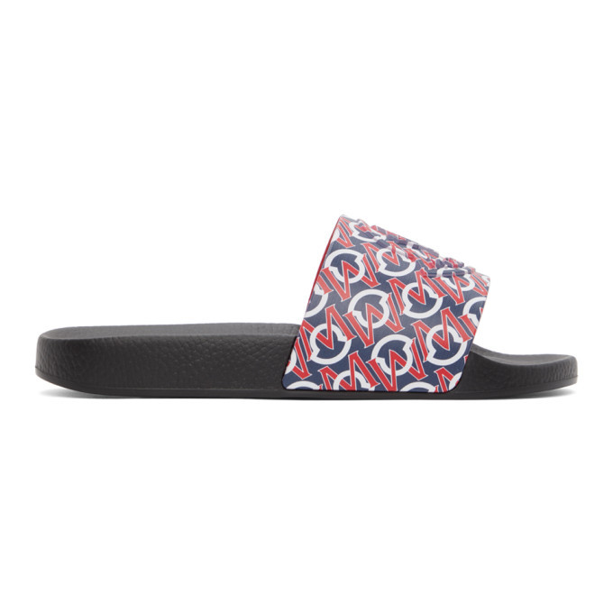 Photo: Moncler Black and Red Logo Basile Slides