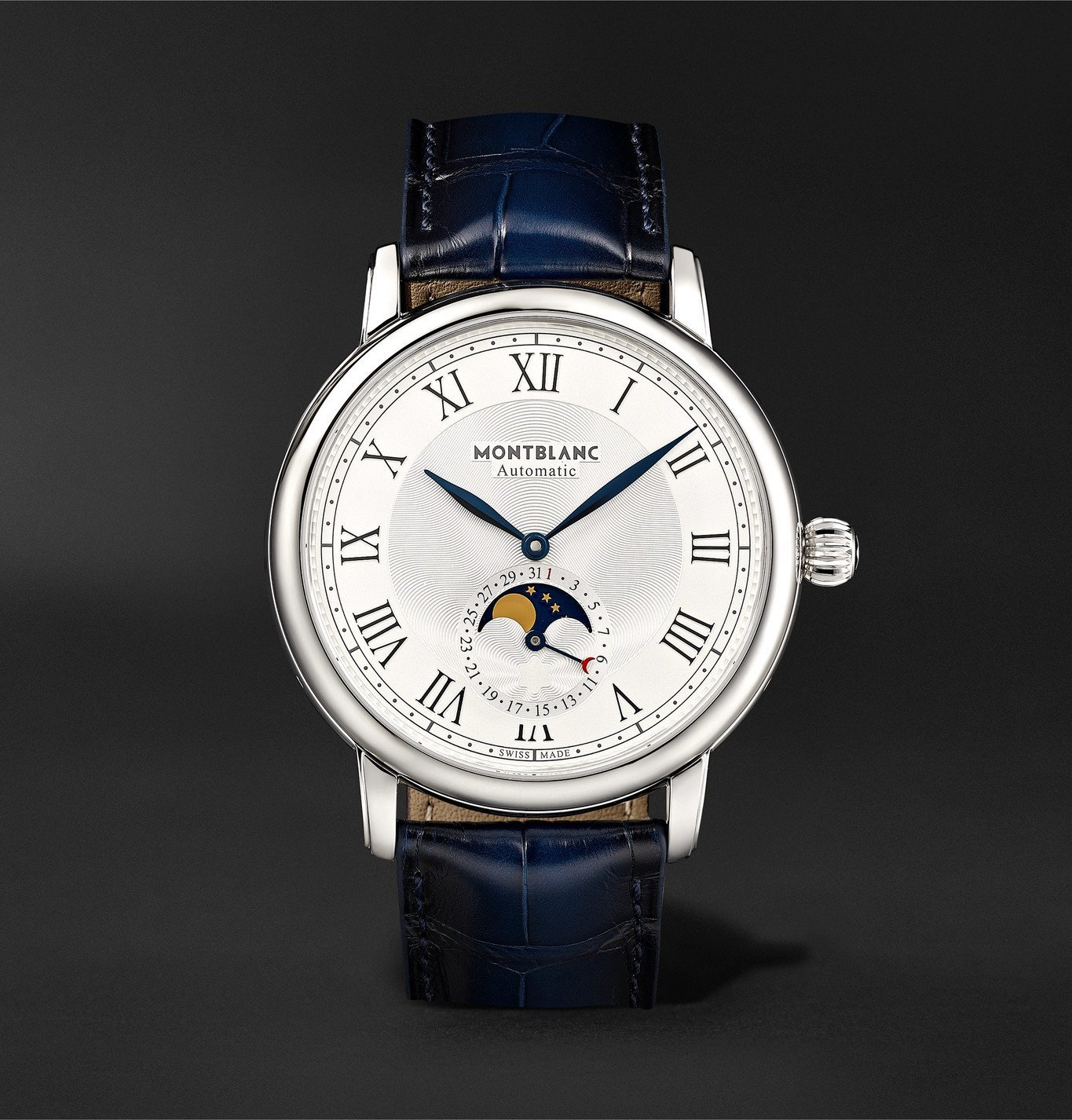 Photo: Montblanc - Star Legacy Automatic Moon-Phase 42mm Stainless Steel and Alligator Watch, Ref. No. 126079 - White