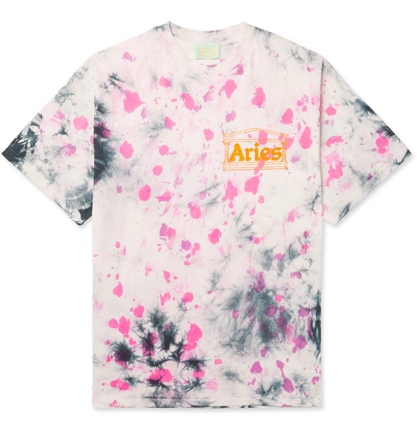 Aries - Temple Logo-Print Tie-Dyed Cotton-Jersey T-Shirt - Purple
