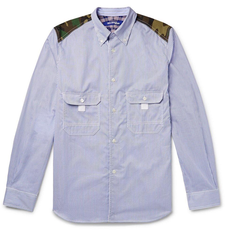Photo: Junya Watanabe - Button-Down Collar Contrast-Trimmed Striped Cotton-Poplin Shirt - Light blue