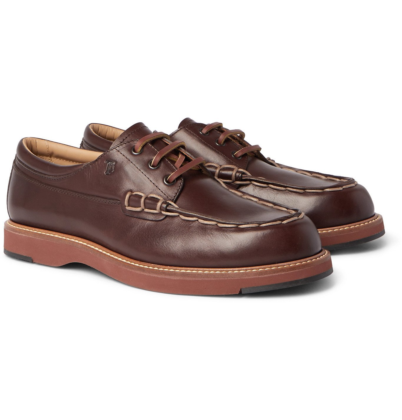 Photo: TOD'S - Contrast-Stitched Leather Boat Shoes - Brown