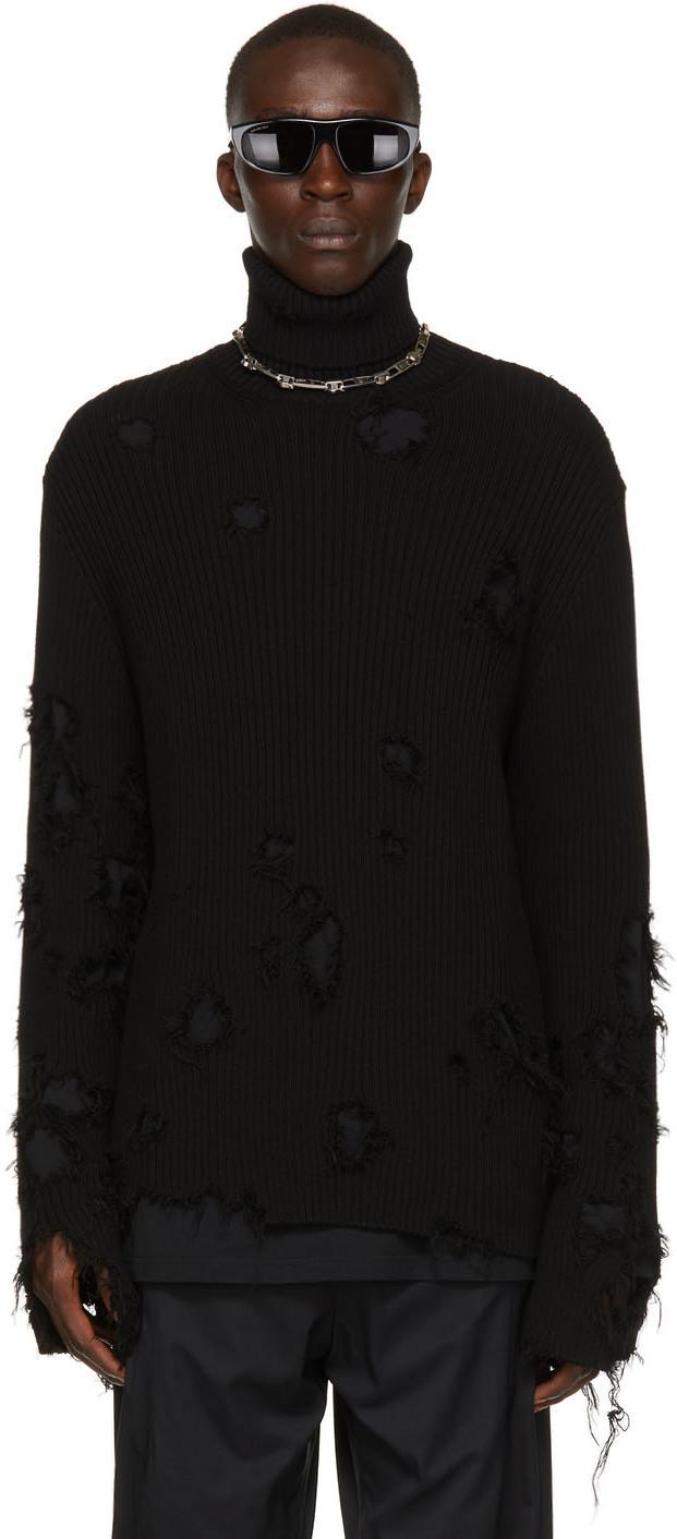 Photo: Balenciaga Black Cotton Knit Destroyed Turtleneck