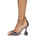 Amina Muaddi Grey AWGE Edition Metallic Flacko Heeled Sandals