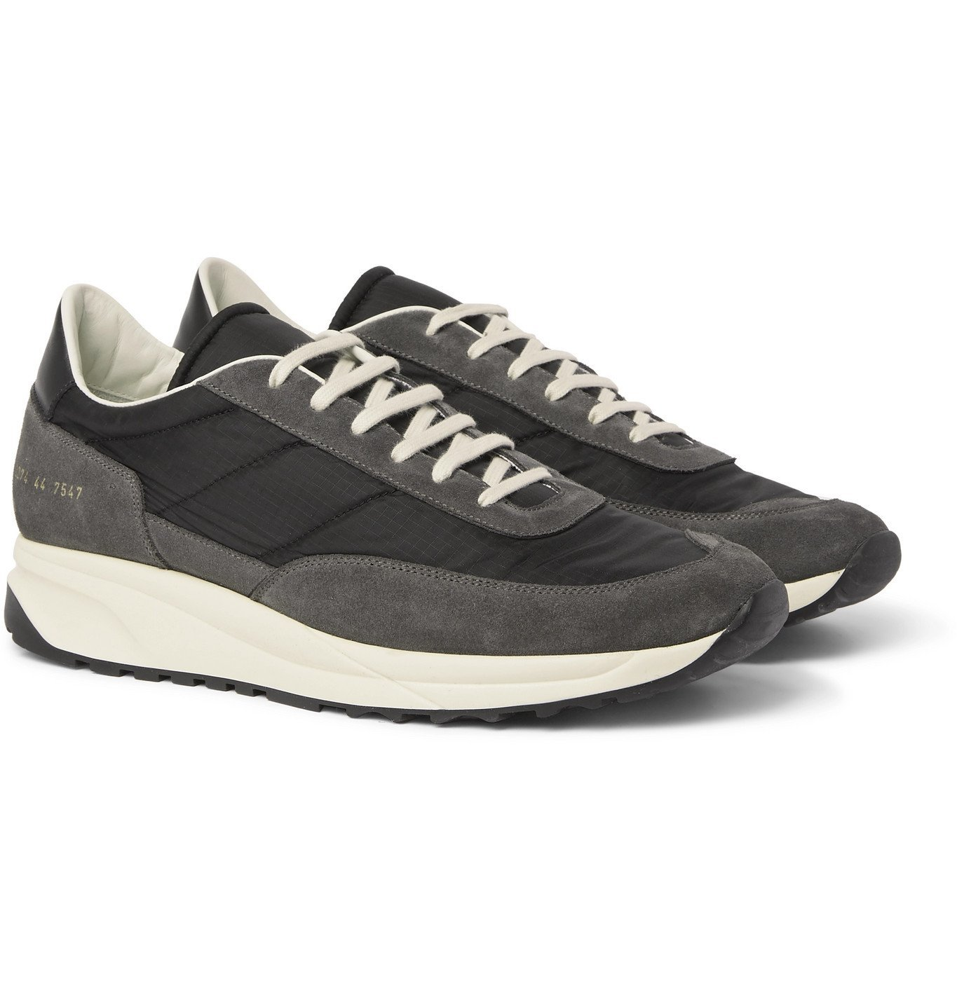 Common Projects - Track Classic Leather-Trimmed Suede and Ripstop Sneakers - Black
