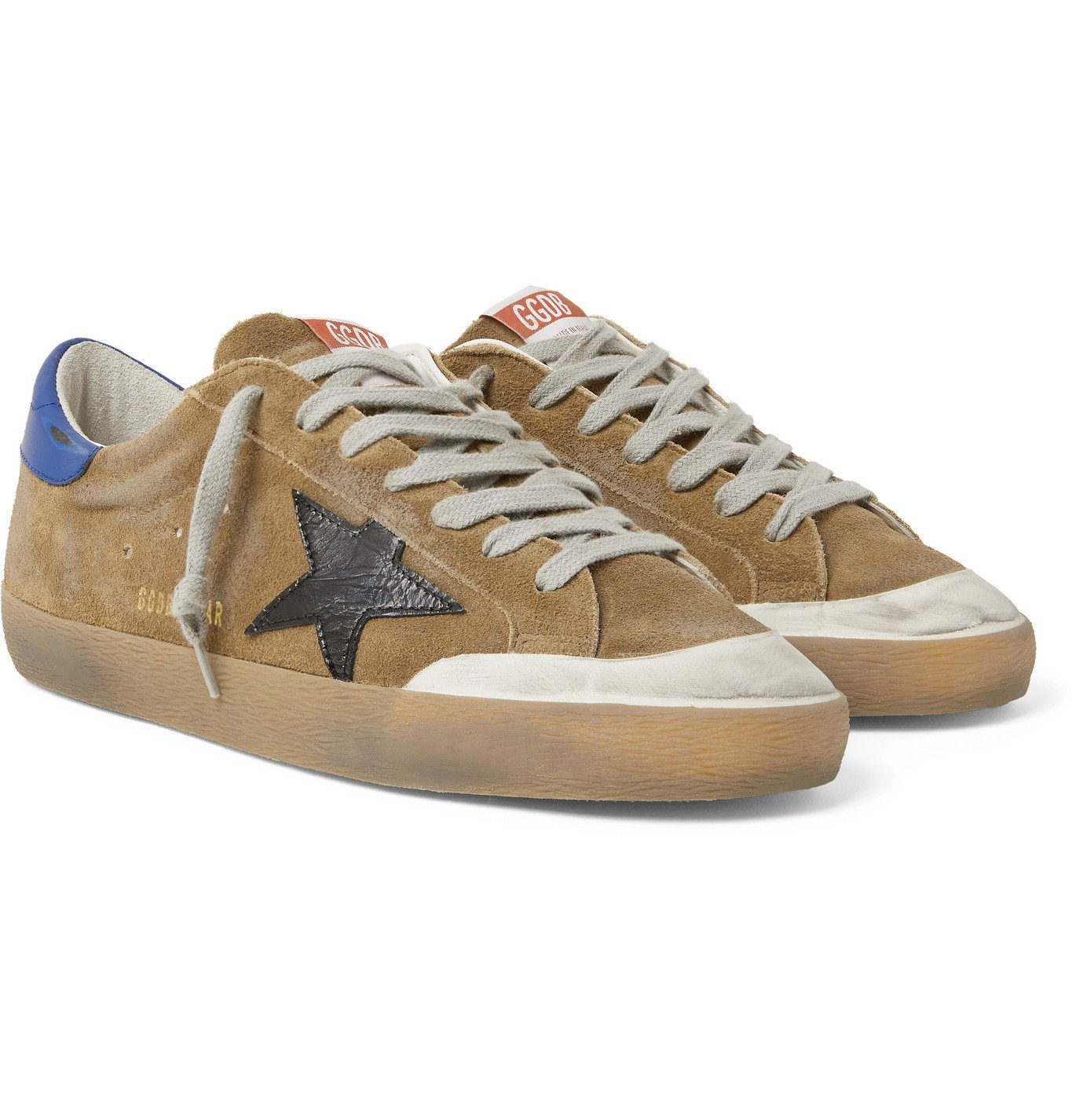 Photo: Golden Goose - Superstar Distressed Suede and Leather Sneakers - Brown