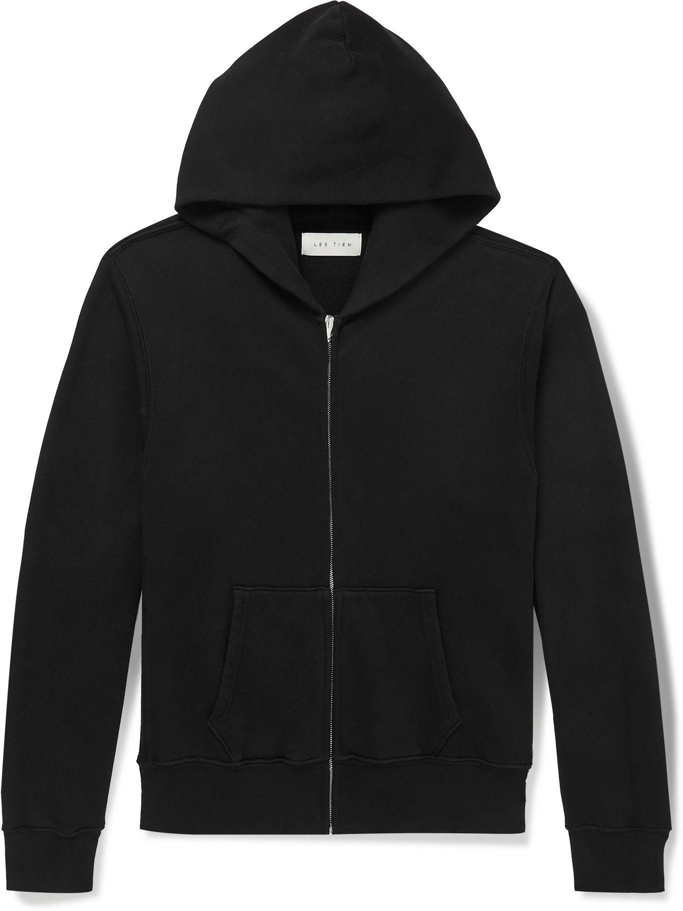 Photo: Les Tien - Garment-Dyed Fleece-Back Cotton-Jersey Zip-Up Hoodie - Black