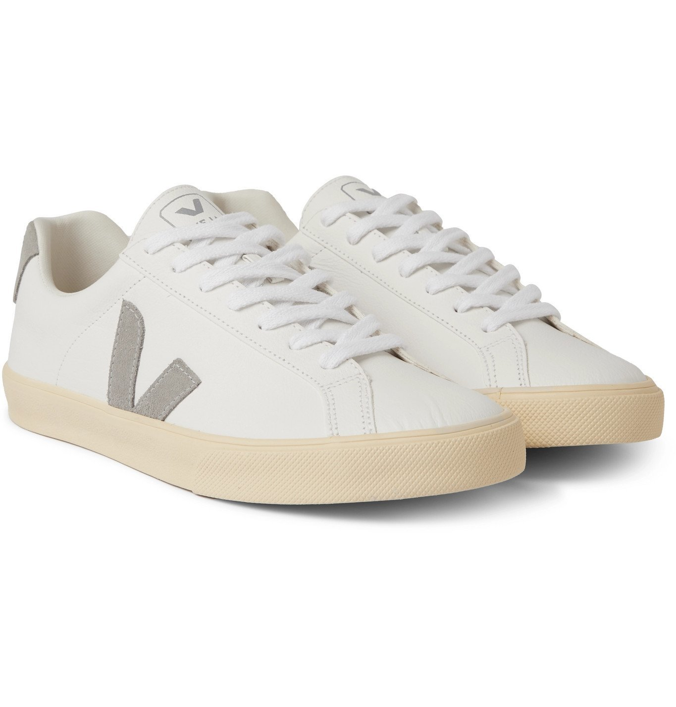 Photo: Veja - Esplar Suede-Trimmed Leather Sneakers - White