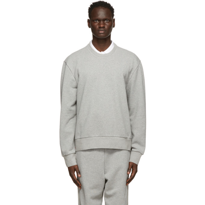 Photo: Thom Browne Grey Loopback Tipped Side Stripe Sweatshirt