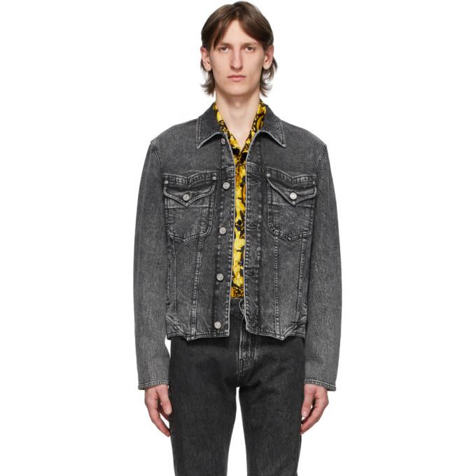 Photo: Versace Black Washed Denim Jacket