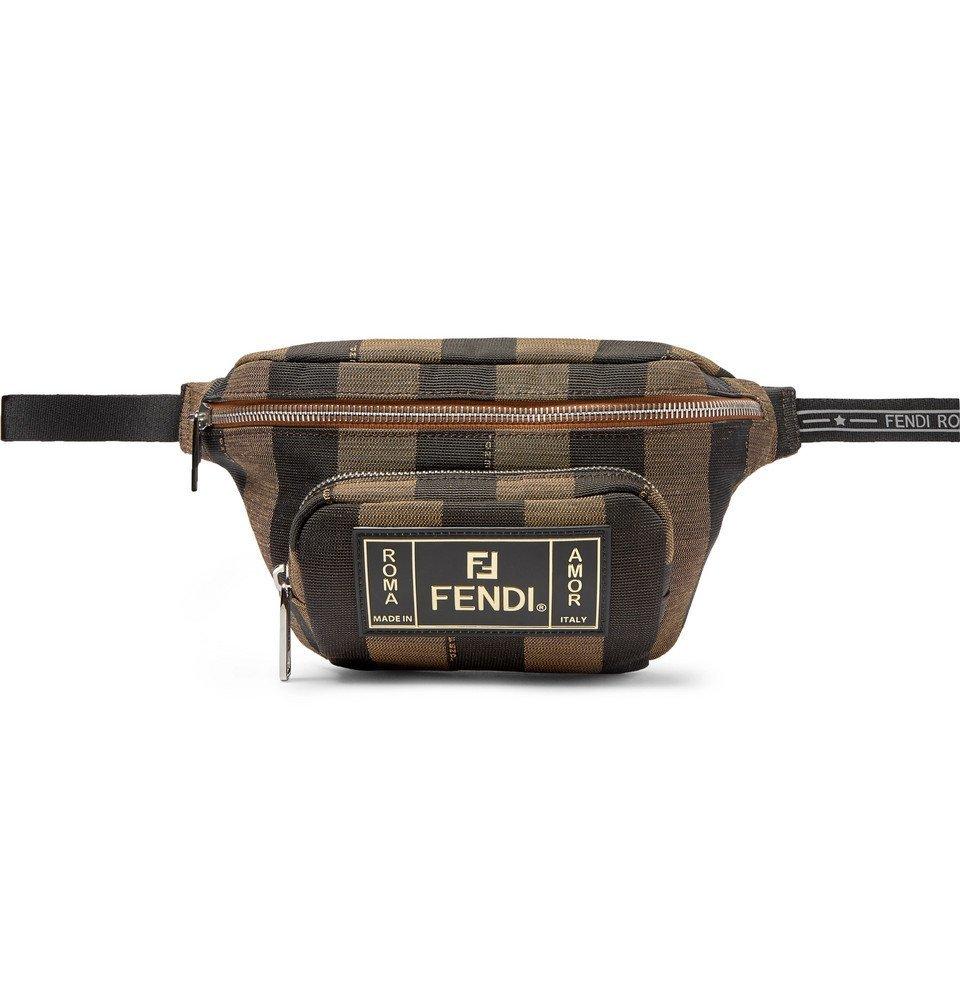 Photo: Fendi - Logo-Appliquéd Striped Canvas Belt Bag - Brown