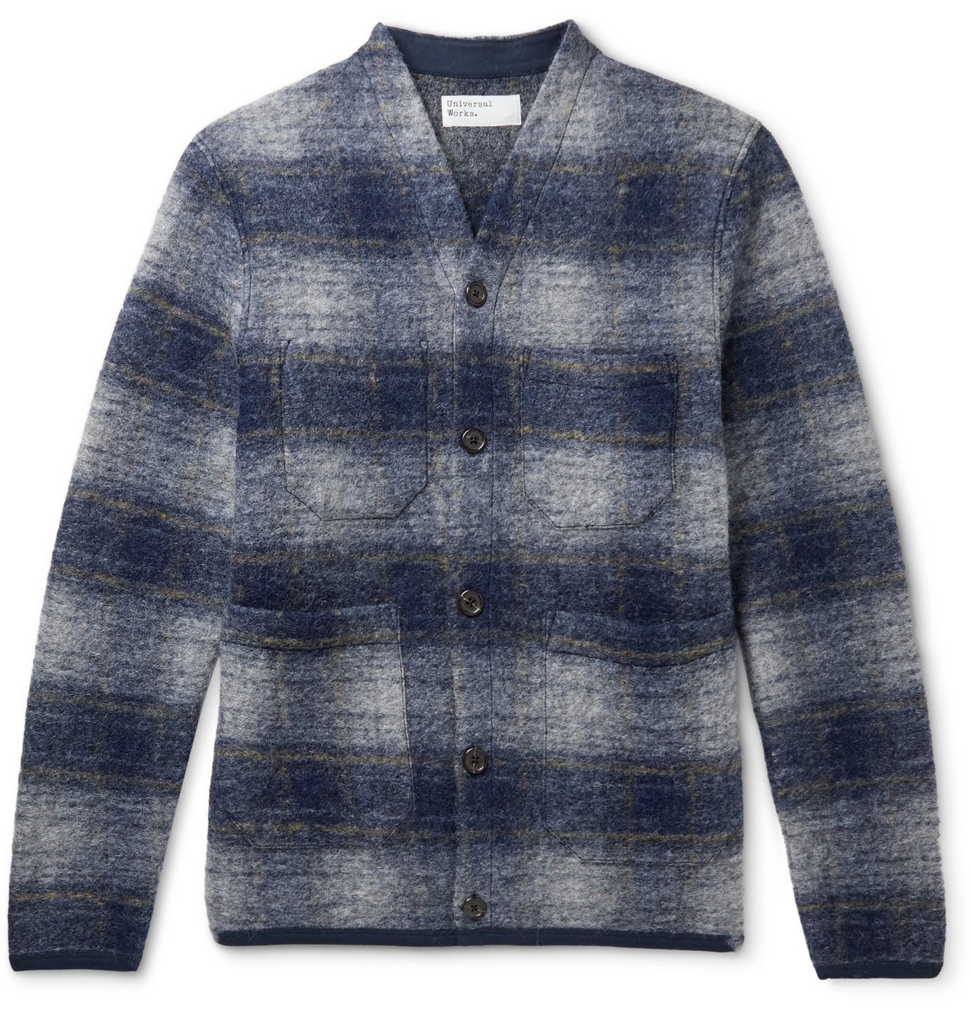 Photo: Universal Works - Checked Wool-Blend Cardigan - Blue