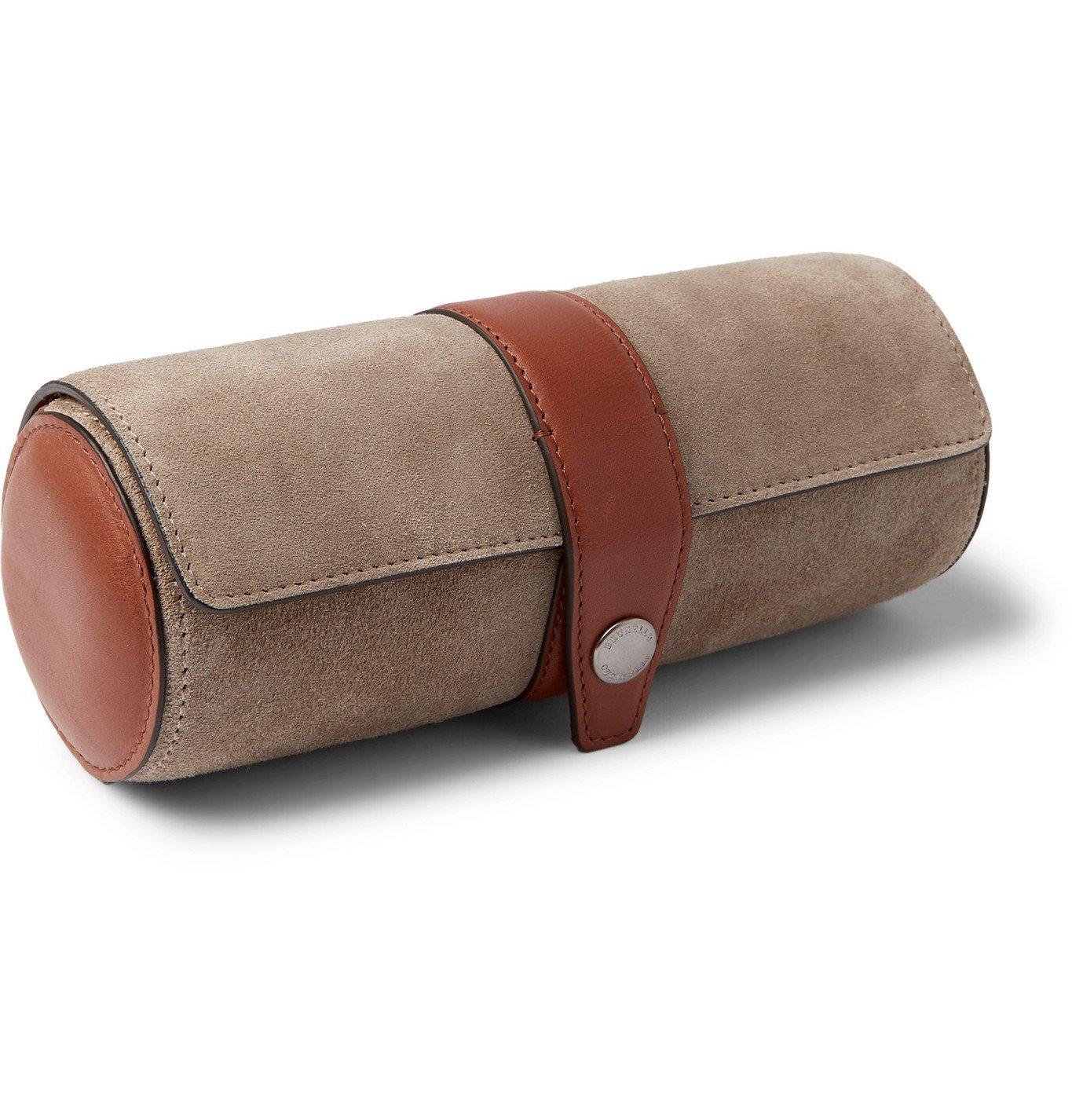 Brunello Cucinelli - Leather-Trimmed Suede Watch Roll - Neutrals