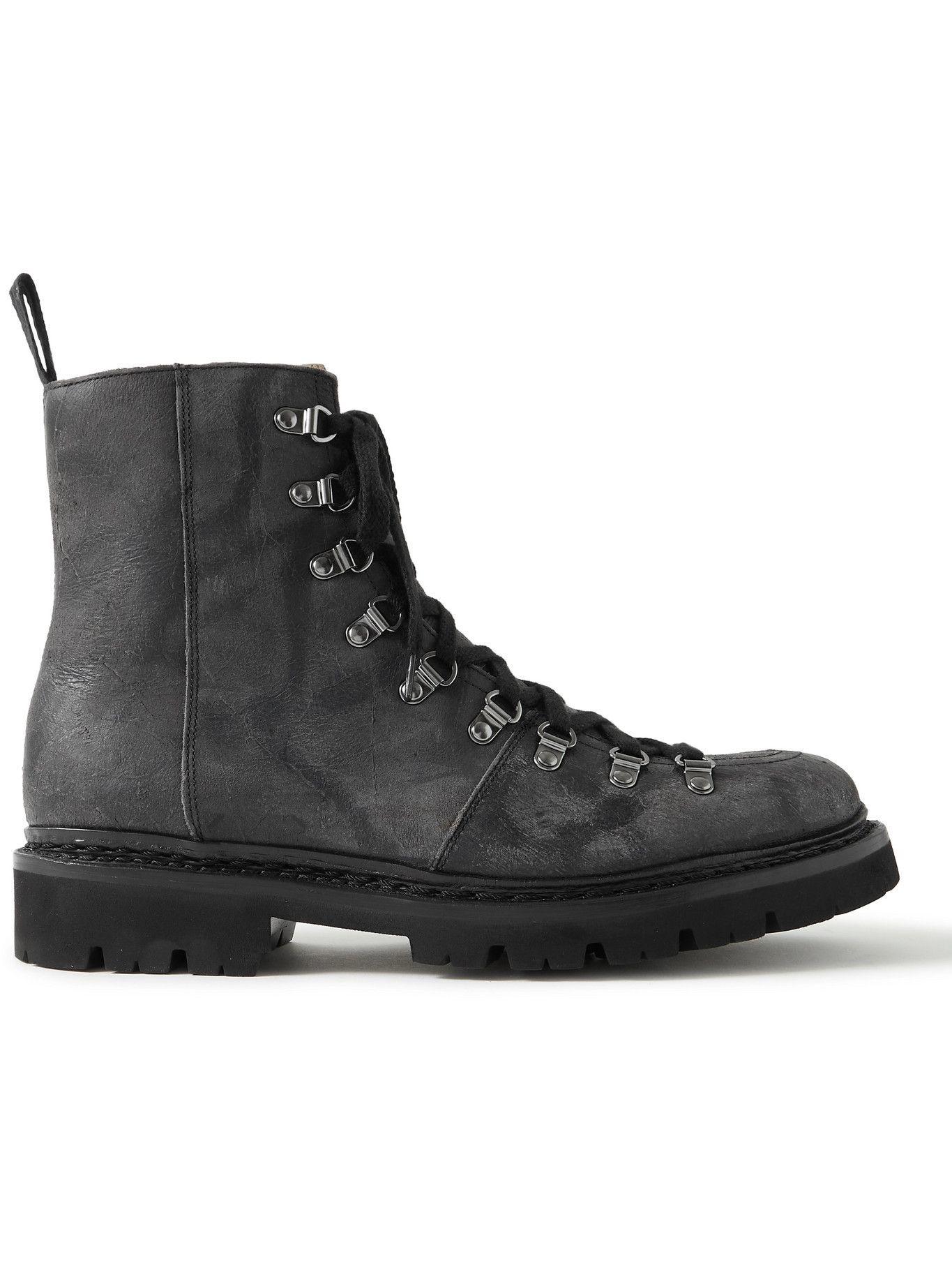 Photo: Grenson - Brady Distressed Textured-Leather Boots - Black